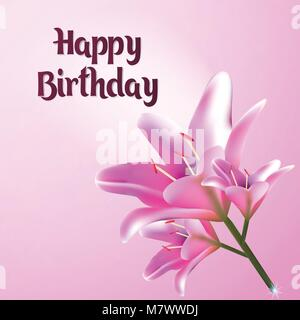 Happy Birthday. Greeting card vector illustration. Postcard with flower of the Lily. E-card pastel pink tones. - Stock Photo