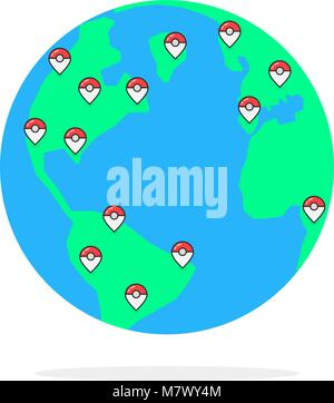 colored pins on globus of earth - Stock Photo