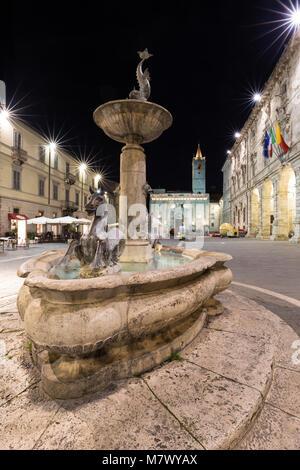 Piazza Arringo, Ascoli Piceno district, Marches, Italy - Stock Photo