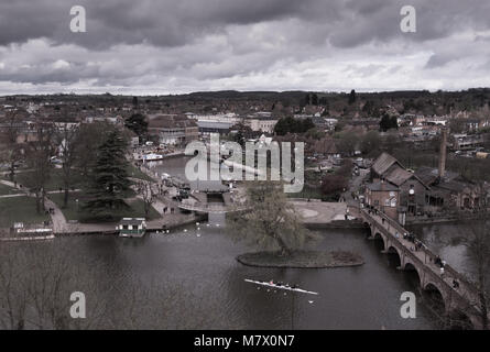 aerial view of Stratford upon Avon UK in Shakespeare's England with swans and canal basin and lock in the foreground - Stock Photo