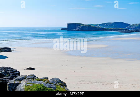 Beautiful empty white sand beach and calm blue sea at Oldshoremore Bay, near Kinlochbervie, Sutherland, Scottish - Stock Photo