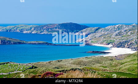 Looking over azure sea and white sand beach at Oldshoremore Bay, near Kinlochbervie, Sutherland, Scotland, old coastal - Stock Photo