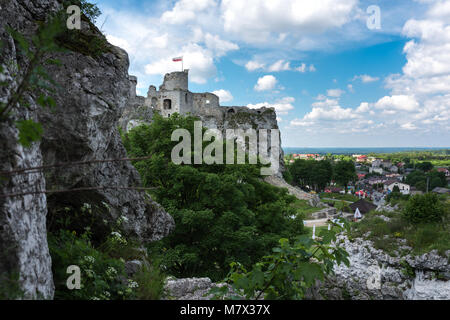 Panoramic photography of Ogrodzieniec  Castle  from the distance at sunny summer day, Poland - Stock Photo