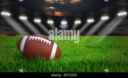 American football arena with ball on green grass illumination at night, 3D rendering - Stock Photo