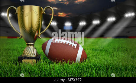 American football arena with ball and trophy cup on green grass illumination at night, 3D rendering - Stock Photo