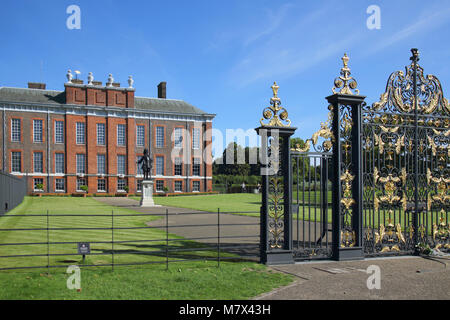 kensington palace gates in hyde park london - Stock Photo