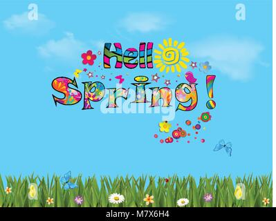 Hello spring vector cartoon colorful  illustration with beautiful meadow field with colorful flowers and butterflies - Stock Photo