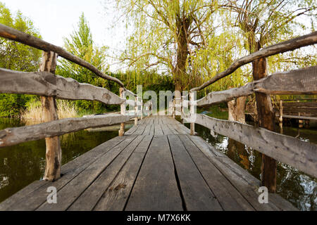 Wooden bridge leading to the shore - Stock Photo