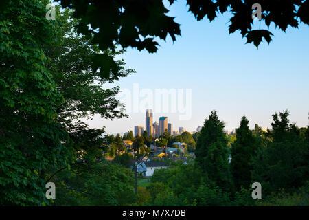 Downtown skyline and Mount Baker neighborhood, Rainier Valley District, Seattle, Washington State, USA - Stock Photo