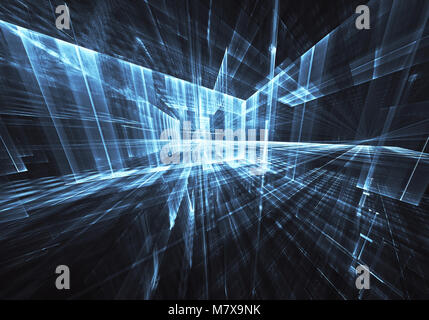Abstract technological background - the image generated on the computer. Fractal art: a space of glass with light - Stock Photo