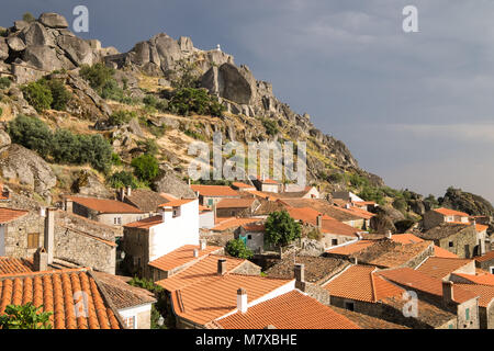 Beautiful medieval historical village of Monsanto Portugal top of the hill - Stock Photo