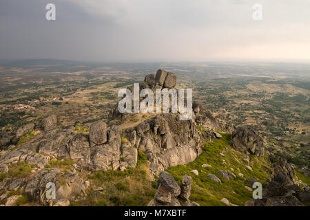 Beautiful boulder rocks on the top of a mountain in Monsanto Portugal - Stock Photo