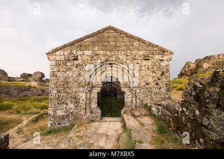 Beautiful historic church in Monsanto Portugal in the afternoon on a cloudy day - Stock Photo