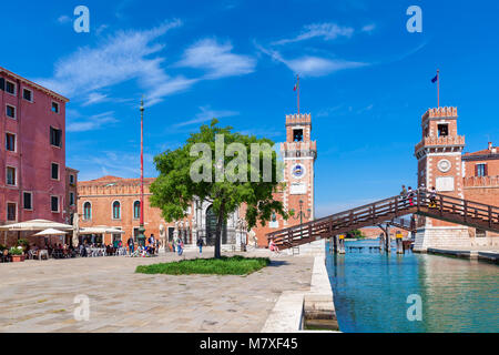 VENICE, ITALY: View of towers and bridge of  famous Venetian Arsenal - complex of former shipyards and armories, - Stock Photo