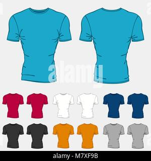 Set of colored t-shirts templates for men - Stock Photo