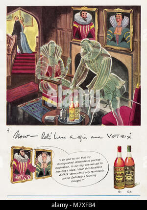 1950s original old vintage advertisement advertising Votrix Vermouth in magazine circa 1950 - Stock Photo