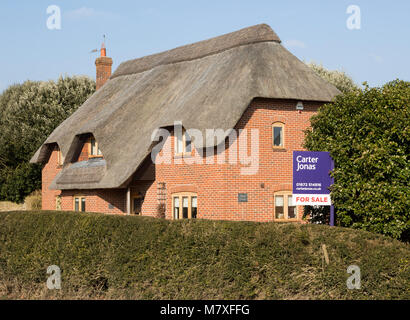 Thatched country cottage for sale with Carter Jonas estate agent sign outside,  Alton Priors, Wiltshire, England, - Stock Photo