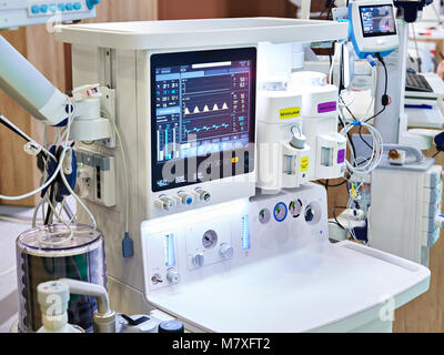 Inhalation anaesthetic machine with monitor - Stock Photo