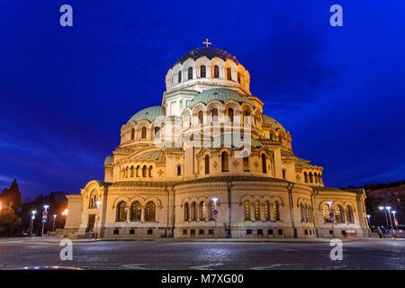 St. Alexandar Nevski Orthodox Cathedral in Sofia city centre, Bulgaria. - Stock Photo