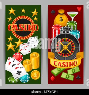 Casino gambling banners or flyers with game objects - Stock Photo