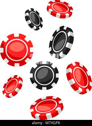 Set of casino red and black chips falling down - Stock Photo