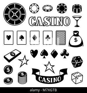 Set of casino gambling game objects and icons - Stock Photo