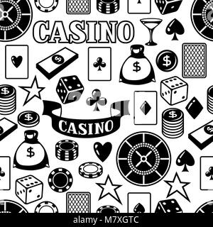 Casino gambling seamless pattern with game objects - Stock Photo