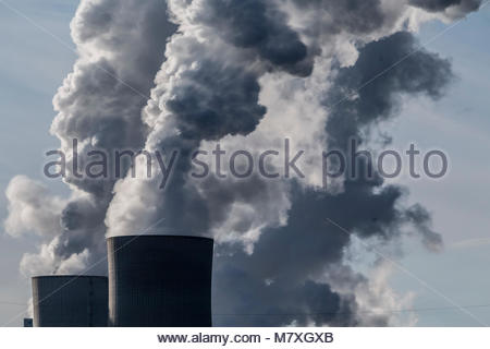 Steam rises from the cooling towers of the lignite power plant Neurath, a lignite-fired base load power plant operated - Stock Photo