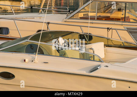 View of the luxury yacht at anchor - Stock Photo