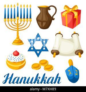 Set of Jewish Hanukkah celebration objects and icons - Stock Photo