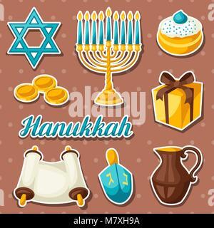 Set of Jewish Hanukkah celebration sticker objects and icons - Stock Photo