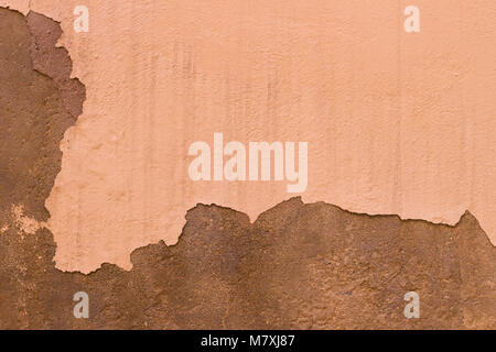 Damaged Painted Beige Brown Old Wall Background Texture - Stock Photo