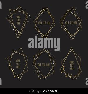 Set of Geometrical polyhedron, Frame border with copy space. Modern abstract vector backgrounds in art deco style. - Stock Photo