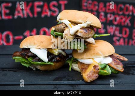 Selections of takeaway breakfast baps. - Stock Photo