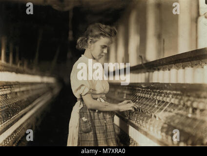 Young Girl Working in Textile Mill, Cherryville, North Carolina, USA, Lewis Hine for National Child Labor Committee, - Stock Photo