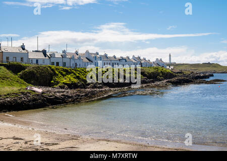 Traditional cottages around the harbour in village of Portnahaven, Isle of Islay, Argyll and Bute, Inner Hebrides, - Stock Photo