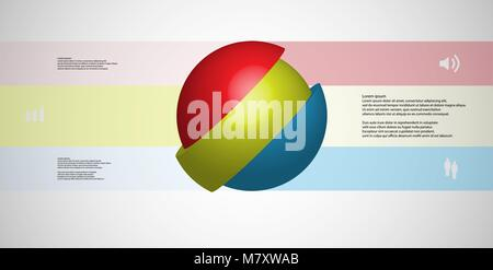 3D illustration infographic template with motif of askew sliced ball to three color parts which are shifted. Simple - Stock Photo