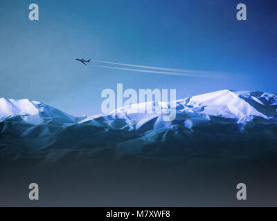 Airplane flying above over snowy mountains. Travel by air transport concept. airlines passenger transportation - Stock Photo