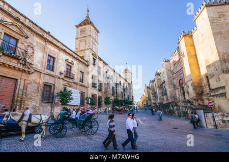 Cordoba, Andalusia, Spain : Tourists walk by the west facade of the Mosque–Cathedral and Episcopal Palace. - Stock Photo