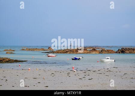 LE HAVRE DE LA ROCQUE ON EASTERN SIDE OF JERSEY CHANNEL ISLANDS AT LOW TIDE