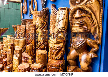 Tiki Hawaiian culture statues for sale in Lahaina on the island of Maui in the State of Hawaii USA - Stock Photo