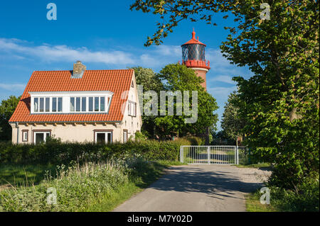 Lighthouse on the steep coast Staberhuk, Fehmarn, Baltic Sea, Schleswig-Holstein, Germany, Europe - Stock Photo