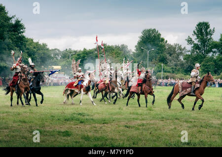 Polish Winged Hussars – Battle of Kluszyn 1610 - reenactment show - July 04, 2010 in Warsaw, Poland - Stock Photo