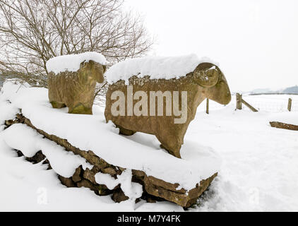 Stone Sheep Sculptures Created by Keith Alexander on the Pennine Way Footpath Near Low Force, Bowlees, Teesdale, - Stock Photo