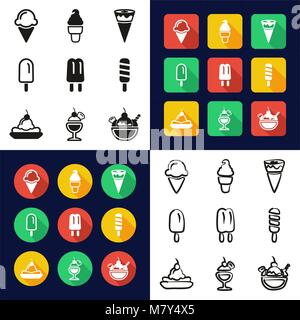 Ice Cream All in One Icons Black & White Color Flat Design Freehand Set - Stock Photo
