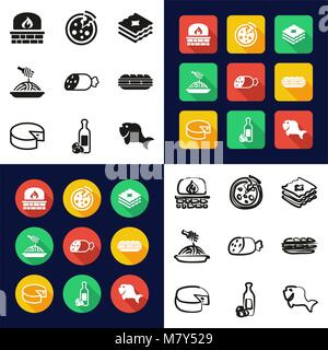 Italian Food All in One Icons Black & White Color Flat Design Freehand Set - Stock Photo