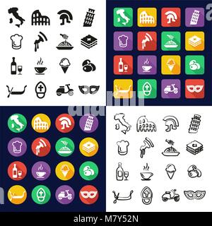 Italy All in One Icons Black & White Color Flat Design Freehand Set - Stock Photo