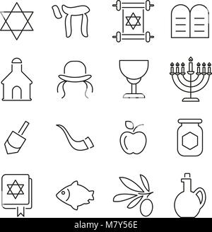 Judaism Religion & Religious Items Icons Thin Line Vector Illustration Set - Stock Photo