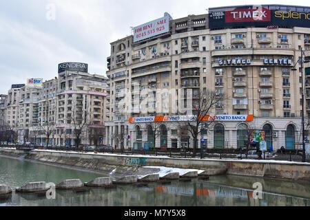 Bucharest, Romania. February 5, 2017. View of Bucharest from Union Square (Piata Unirii) - Stock Photo