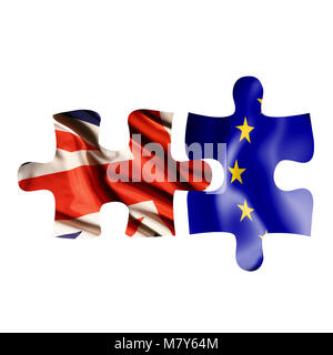 Two puzzle pieces with both UK and EU flags, showing separation after UK to leave European Union - Stock Photo